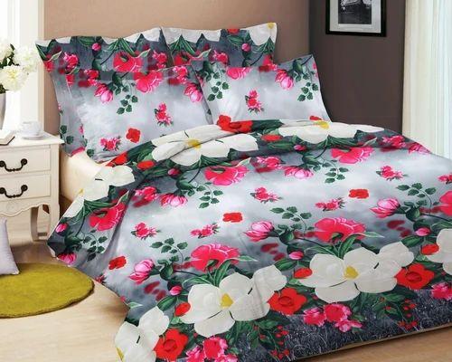 8a3e574bd Plain Multicolor 3D Printed Double Bedsheet With 2 Pillow Cover