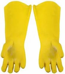 Yellow PVC Supported Hand Gloves For Industrial, Size: Large
