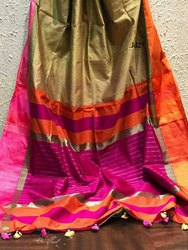 Ladies Maheshwari handloom Saree, Hand Made
