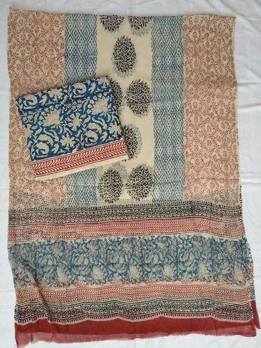 Cotton Printed Jaipuri Salwar Suit Material, Handwash