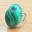 Handmade 925 Silver Jewelry Malachite Gemstone Men's Ring