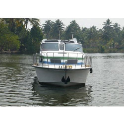 White, Green And Blue Grp FRP Motor Boat, Seating Capacity: 33