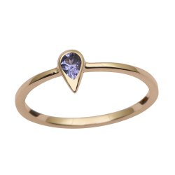 9 Ct Yellow Gold Natural Pear Tanzanite Bezel Set Solitaire Engagement Ring