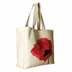 Cream White BT Cotton Printed Carry Bag
