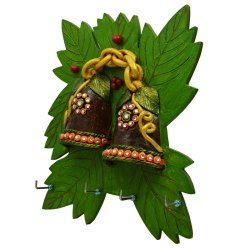 Wooden Kundan Leaf Dual Bell Key Hanger
