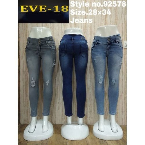 b0f473186b5 EVE-18 28-34 Ladies Ripped Faded Comfort Fit Jeans, Rs 570 /piece ...