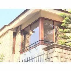 Modern Brown Residential URO Wood Powder Cotting Aluminium Sliding Window