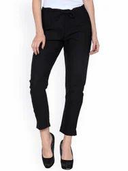 Cotton Black Women's Slim Fit Trousers