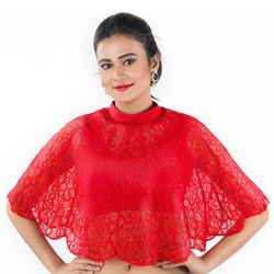 Abhi Fancy Red Net Top With Sleeveless Inner