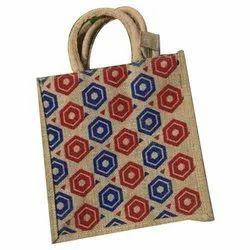 Red, Blue and Brown Printed Biodegradable Jute Bag