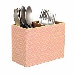 Designer MDF Wooden Cutlery Stand - Pink Net