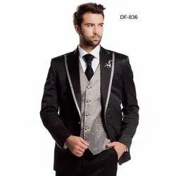 Diwan Saheb DF-836 Mens Black and Grey Western Suit