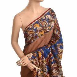 Beige Cotton Kalamkari Saree
