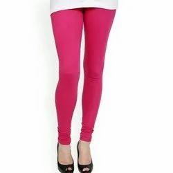Pink Hosiery Cotton Plain Churidar Leggings