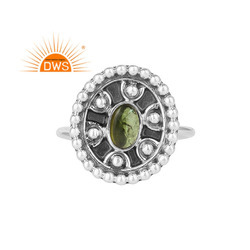 Green Tourmaline Gemstone Womens Oxidized Silver Rings