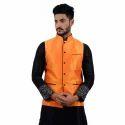 Mens Orange Nehru Jacket