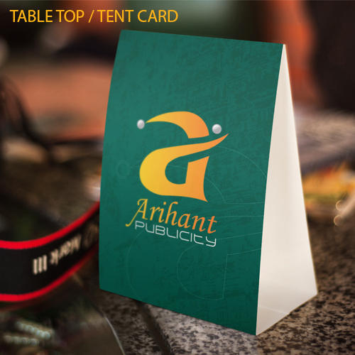 Multicolor Table Top Printed Tent Card & Multicolor Table Top Printed Tent Card Rs 20 /piece Arihant ...