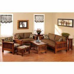 Brown Teak Wood Sofa Set