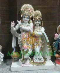 White Marble Radha Krishna Designer Statues