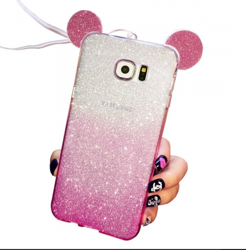 purchase cheap 92009 b63c7 Cute Ears Gradient Glitter 2 In 1 Transparent Soft Back Cover For Galaxy  Note 5 Pink