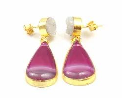 Agate and White Druzy  Gemstone Stud Earring with Gold Plated