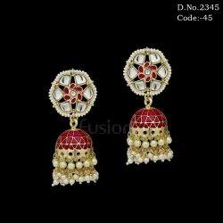 Indo Western Ruby Meenakari Pearl Wedding Earring