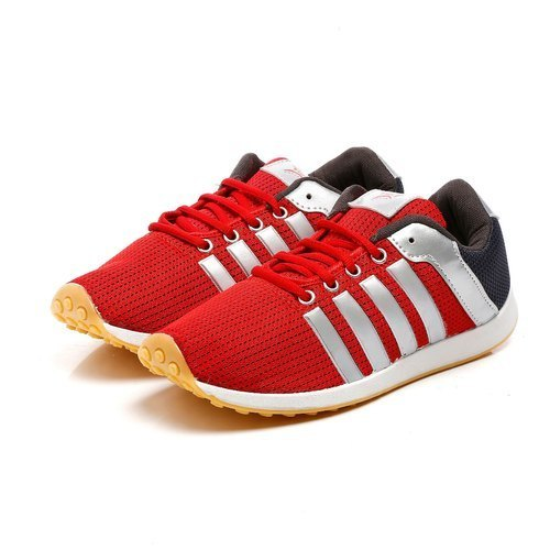 Mens Red Grey Polyester Jogging, Walking & Running Shoes