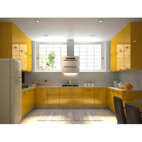 Modern Yellow U Shape Modular Kitchen, Rs 600 /square Feet
