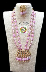 Cl Jewellery Acrylic Beads Kundan Pendant Imitation Necklace
