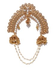 Priyaasi's Elegant Pearl Polki Gold Plated Bun Pin/Hair Accessories
