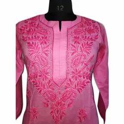 Cotton 3/4th Sleeve Ladies Embroidered Kurti, Size: S-XXL, Wash Care: Machine wash