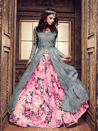5c5489d6b46 Silk Grey Indo Western New Style Salwar Suit, Rs 2850 /piece | ID ...