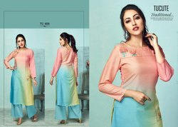 Tucute Fancy Designer Tusser Silk Digital With Embroidery Work Kurtis With Palazzo