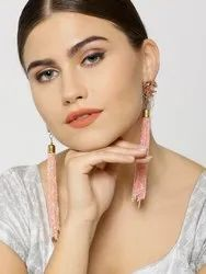 Rose Gold Stone Studded Peach Crystal Beads Chains Tasseled Earrings