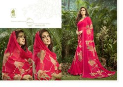 Formal Wear Printed Sahiba Aasma_Gold Georgette Saree, With blouse piece, 6.3
