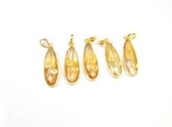 Natural Citrine Wire Wrapped Pendants