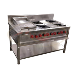 Stainless Steel LPG Continental Burner Cooking Range, For Kitchen