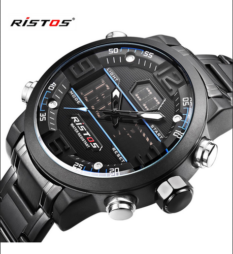 ad89e21ca Stainless Steel RISTOS-9338 Black Analog-Digital Chronograph Watch For-Men