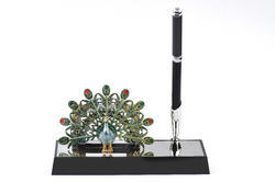 Silver Plated Pen Stand with Peacock