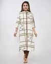 Cotton Flex Straight Cut Checks Print  Kurti