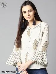 Party Wear Off White Full Sleeve Cotton Tops