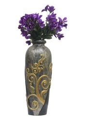 Designer Dark Grey And Silver Vase