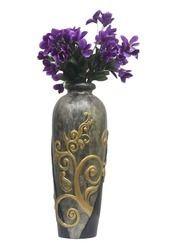 Designer Dark Grey And Silver Vase