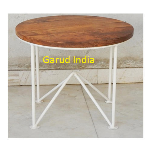 Designer Round Coffee Table With Metal Base Size 60 X 40 Cm