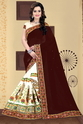Brown And Beige Color Designer Half And Half Georgette Saree