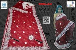 Red & White Cotton INDIAN SAREE, Blouse Size: 0.6 Mtrs, Hand Made