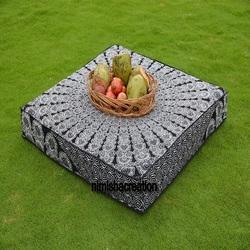 Indian Black Peacock Print Square Mandala Cushion Cover