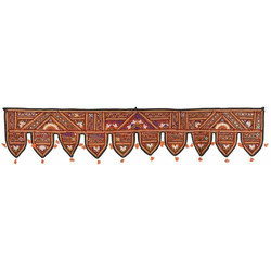 Pita Shree 38x14 inches Rajasthani Traditional Mirror Work Door Hanging Toran, for Home Decor