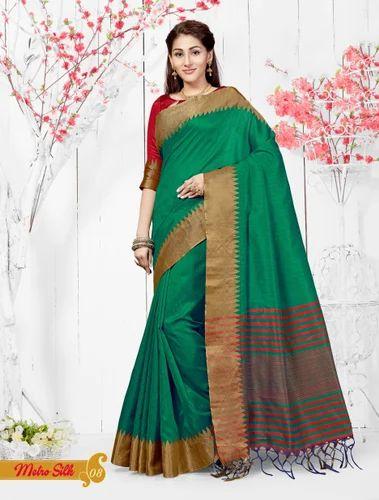 7b2a1ac23bbee3 Chanderi Silk Dark Green Casual Saree, Rs 1020 /inr, Shree Exports ...