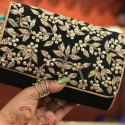 Hand Embroidered Box Clutch Bag Purse For Bridal
